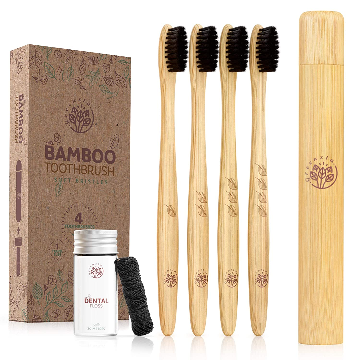 Greenzla Bamboo Toothbrush (4 Pack) With Travel Toothbrush Case & Charcoal Dental Floss in Small Jar | Natural Eco Friendly Toothbrushes for Adults | BPA Free , Soft & Biodegradable Wooden Toothbrush