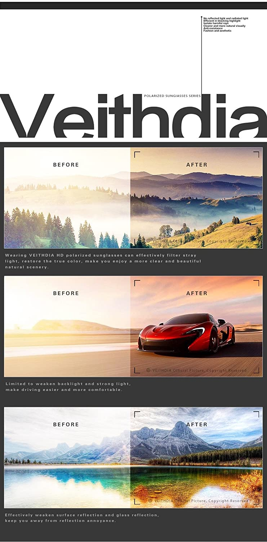 1cac5a9393 Amazon.com  VEITHDIA 3850 Metal Frame Polarized Aviator Sunglasses 100% UV  Protection (Black Frame Grey Lens
