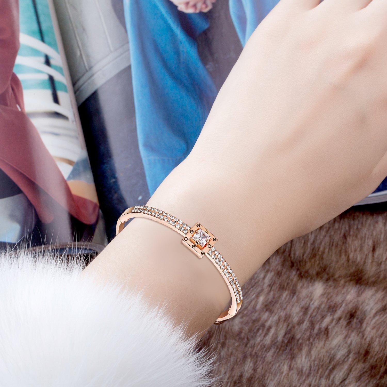 Menton Ezil Princess Crystal Bracelet Rose Gold Luxury Jewelry Adjustable Bangle Bracelets for Womens Girls Wife Anniversary Fashion Collections Loves Design by Menton Ezil (Image #4)