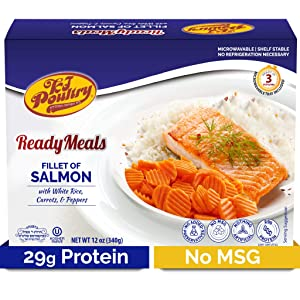 Kosher Salmon Fillet Fish, Parve MRE Meal Ready to Eat, Protein Food (1 Pack) Prepared Entree Fully Cooked, Shelf Stable Microwave Dinner – Travel Military Camping, Emergency Survival Prepping Supply