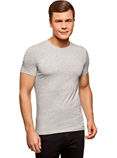 oodji Ultra Hombre Camiseta Sin Etiqueta Básica (Pack de 3)