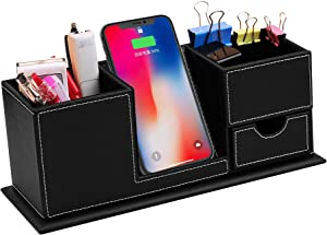 PowEver Qi Wireless Charging Stand with Desk Organizer Pen Holder Charger for iPhone Samsung and Other QI-Enabled Devices