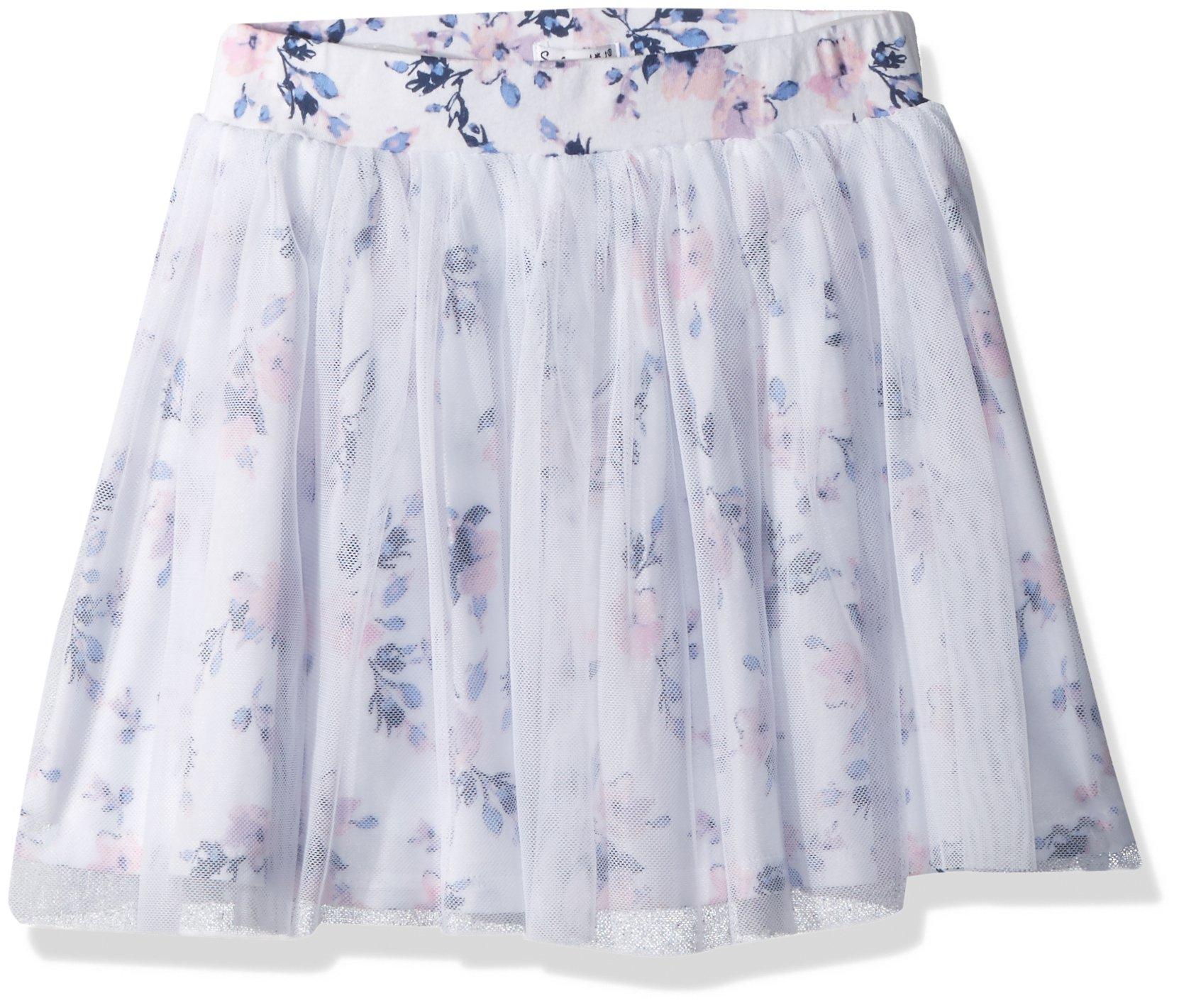 Splendid Little Girls' Floral Print Tutu Skirt, Optic White, 5/6