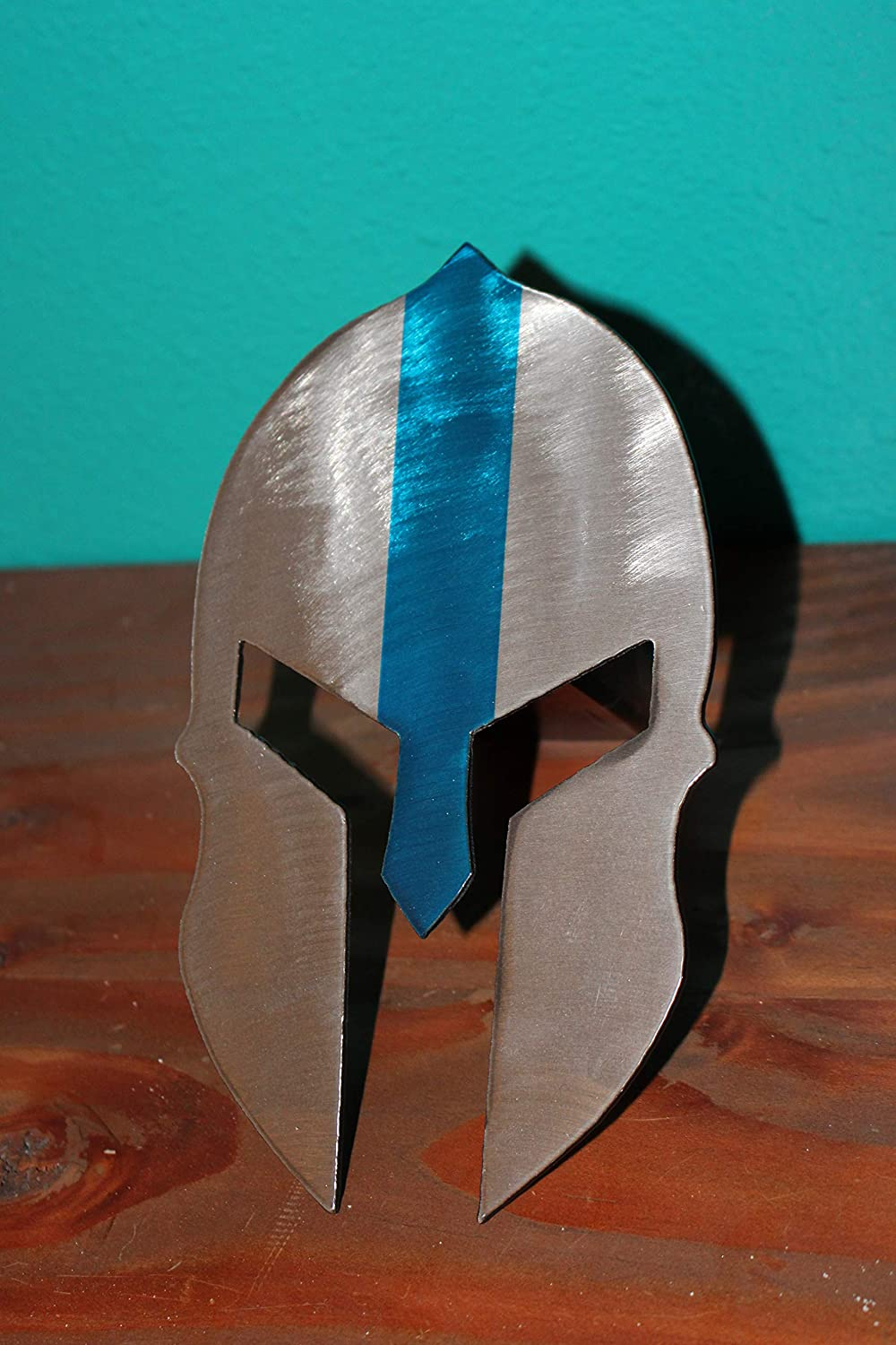 Spartan Helmet Trailer Hitch Cover with Blue Line