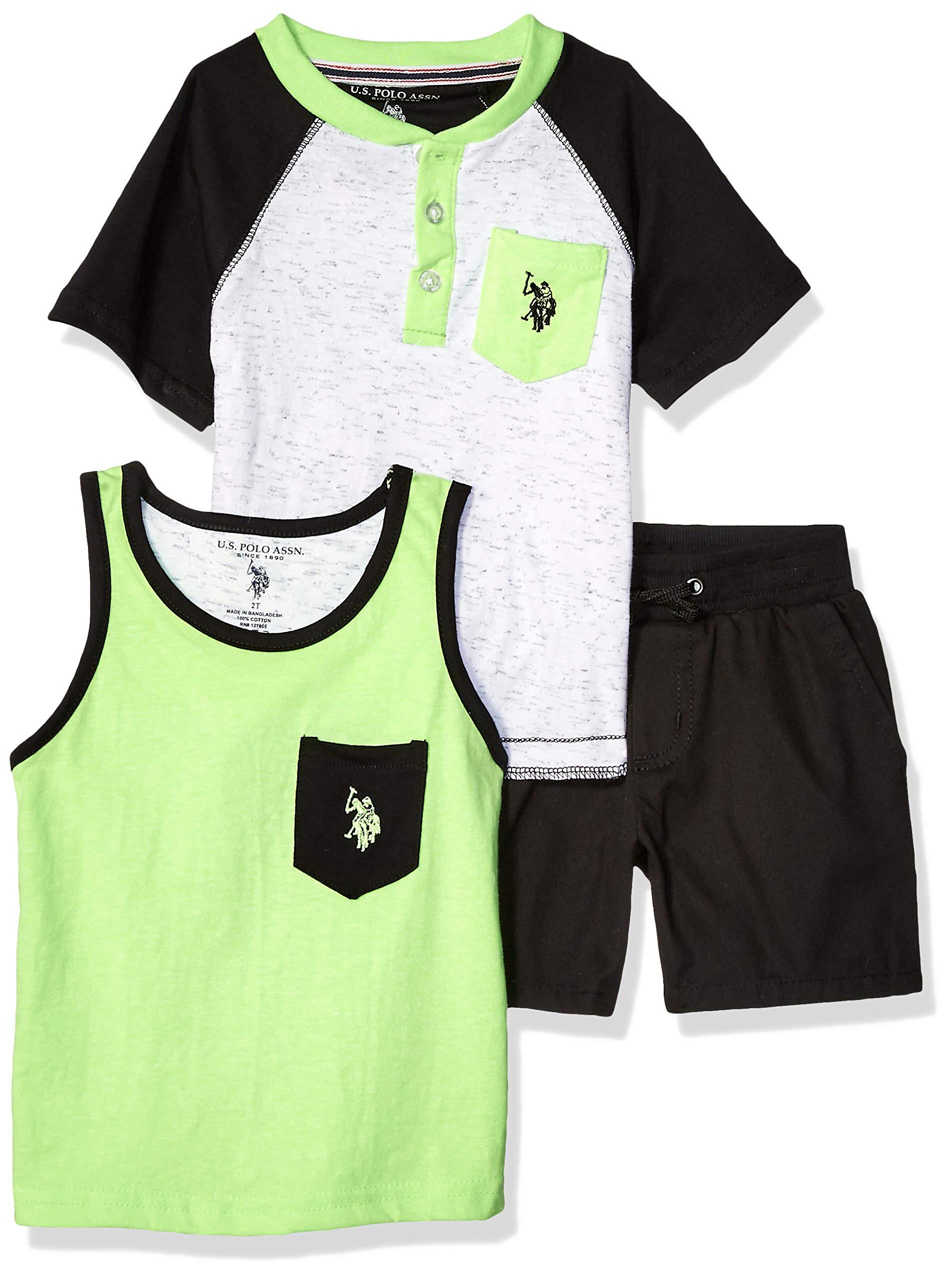 U.S. Polo Assn. Boys' Little 3 Piece Sleeve Henley T-Shirt, Tank Top, and Short Set, Lime Green Black, 7