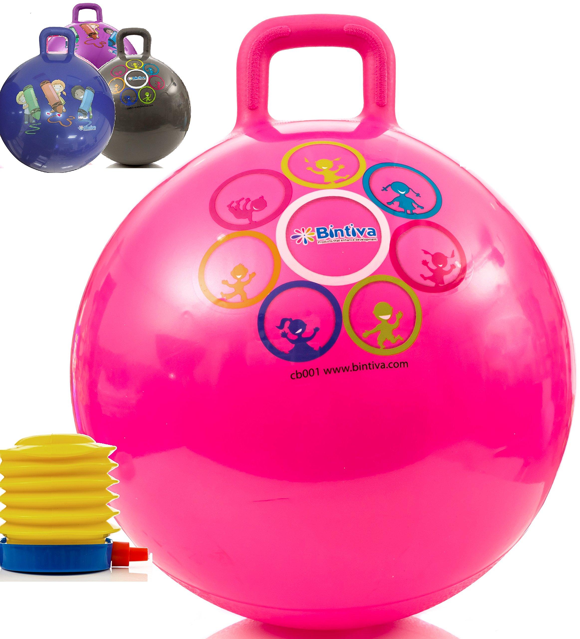 Bintiva 45cm Hopper Ball with Foot Pump Pink
