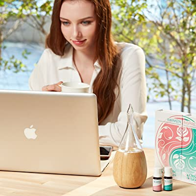 Raindrop 2.0 Nebulizing Essential Oil Diffuser For Aromatherapy By Organic Aromas Light-colored Wood Base and Glass Reservoir With Touch Sensor Light Switch