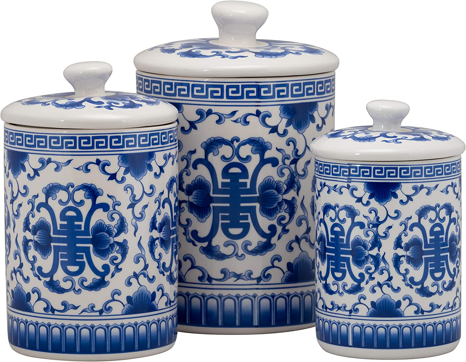 10 Strawberry Street CAN-Chino-B Chinoiserie Kitchen Canister Set, Set of 3, Blue