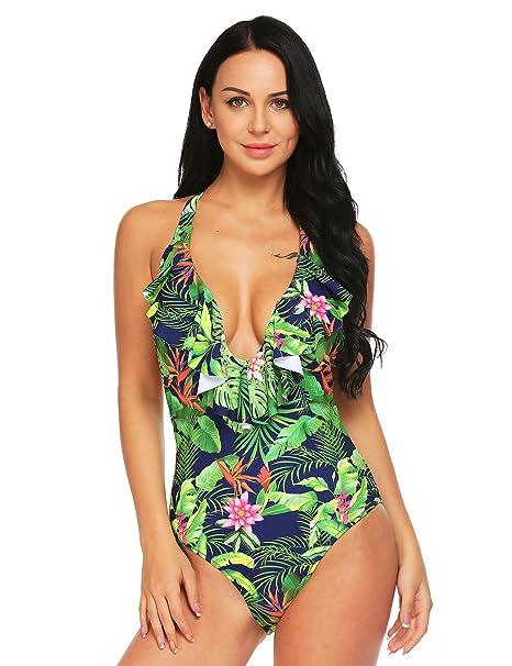 9ab67ec052 Ekouaer Swimwear Womens Monokini Swimsuits Sexy Floral Vintage V Neck Halter  One Piece Bathing Suits