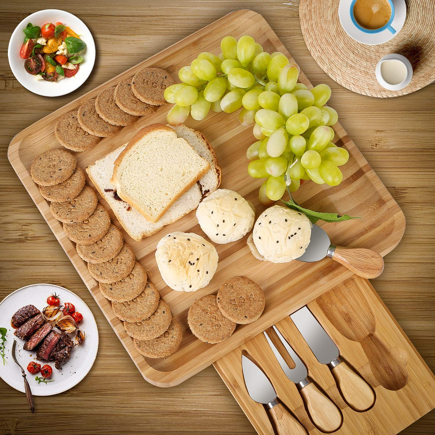 HOMFA Bamboo Cheese Board Cheese Platter with Utensils Set and 4 Stainless Steel Cutting Knives Cracker and Meat Serving Tray for Display, Decorations, and Cheese Lovers by Homfa
