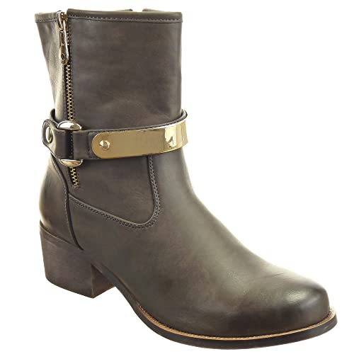 Sopily - Zapatillas de Moda Botines Cavalier Media pierna mujer tachonado metálico Talón Tacón ancho alto