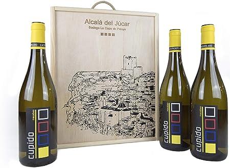 Estuche madera 3 botellas CUPIDO Vino Blanco Macabeo 75cl- Añada 2017 D.O.Manchuela