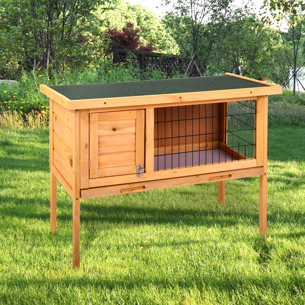 MIERES Wooden Pet House Rabbit Bunny Wood Hutch House Chicken Coops Rabbit Cage Rabbit Hutch, Brown by MIERES