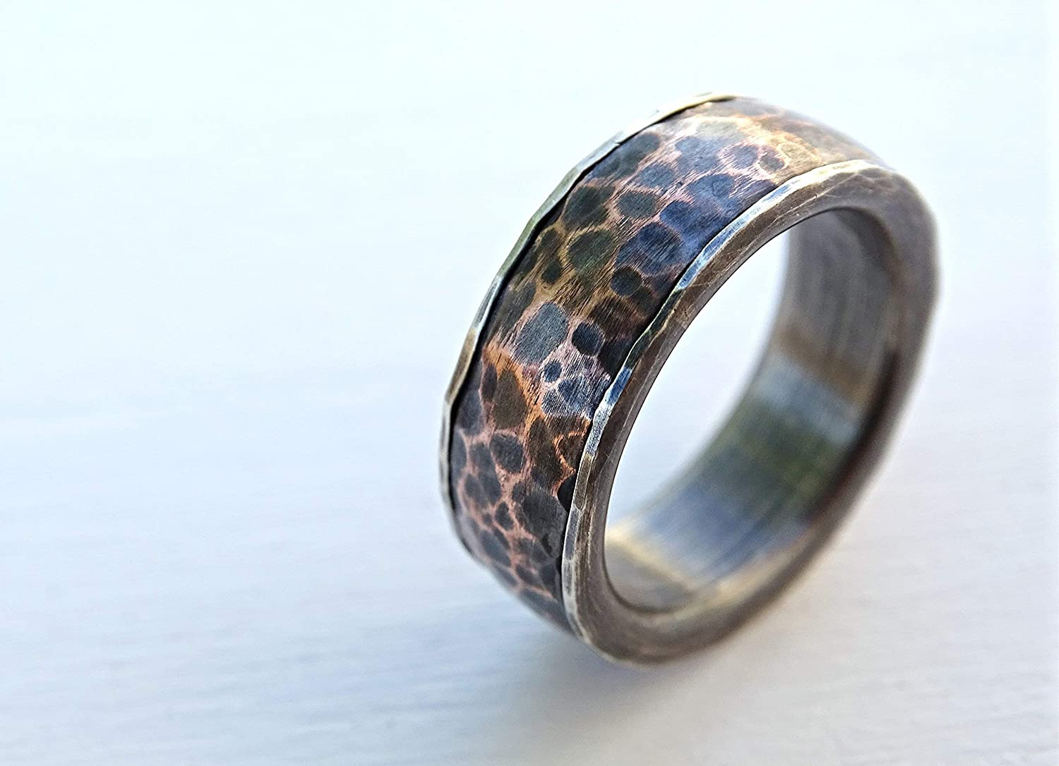 forged ring copper silver wide copper ring wide mens ring copper silver Thick copper and silver ring ONLY  8 US Hammered mens ring