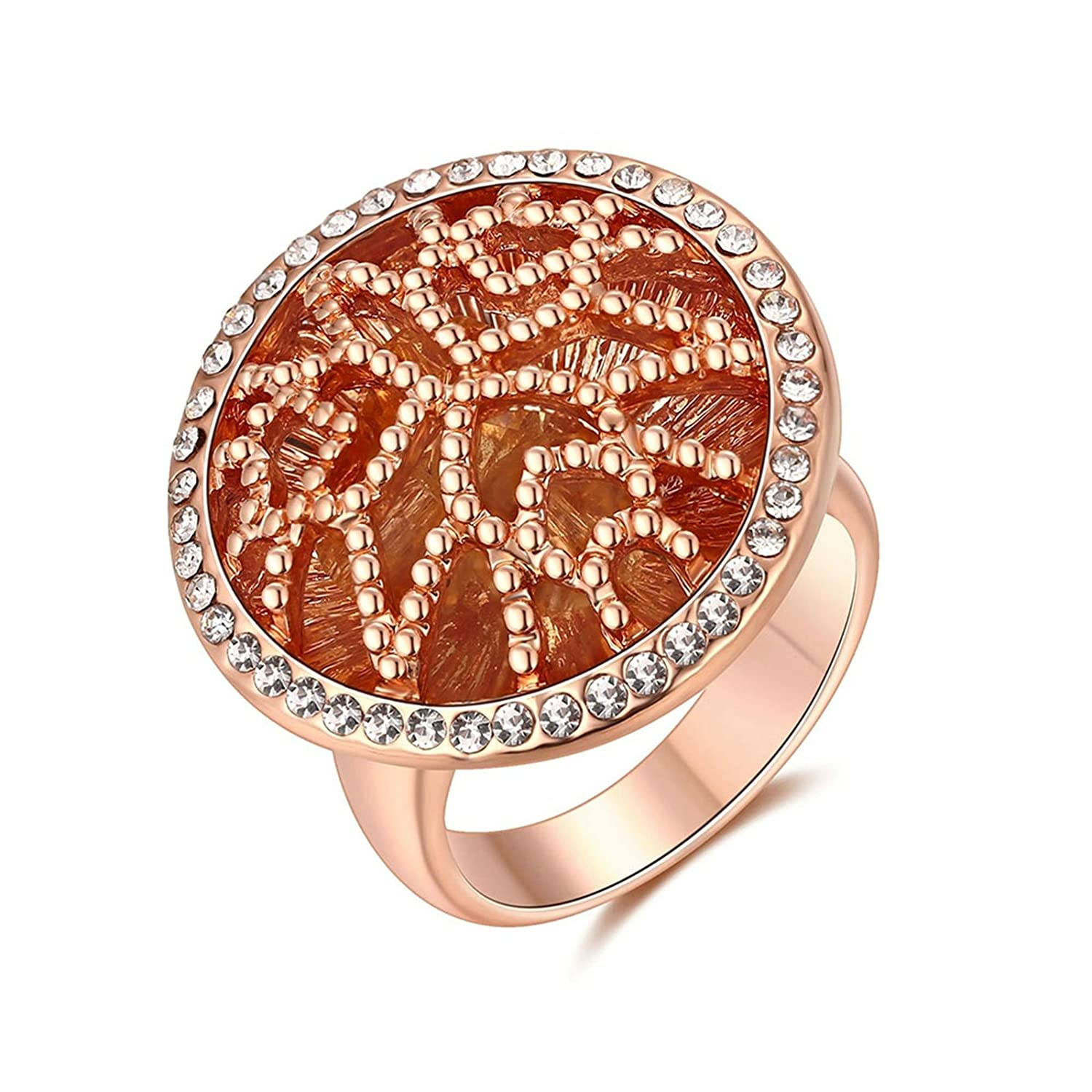 ANAZOZ Silver Plated Base Promise Ring for Women Hollow Pattern AP330