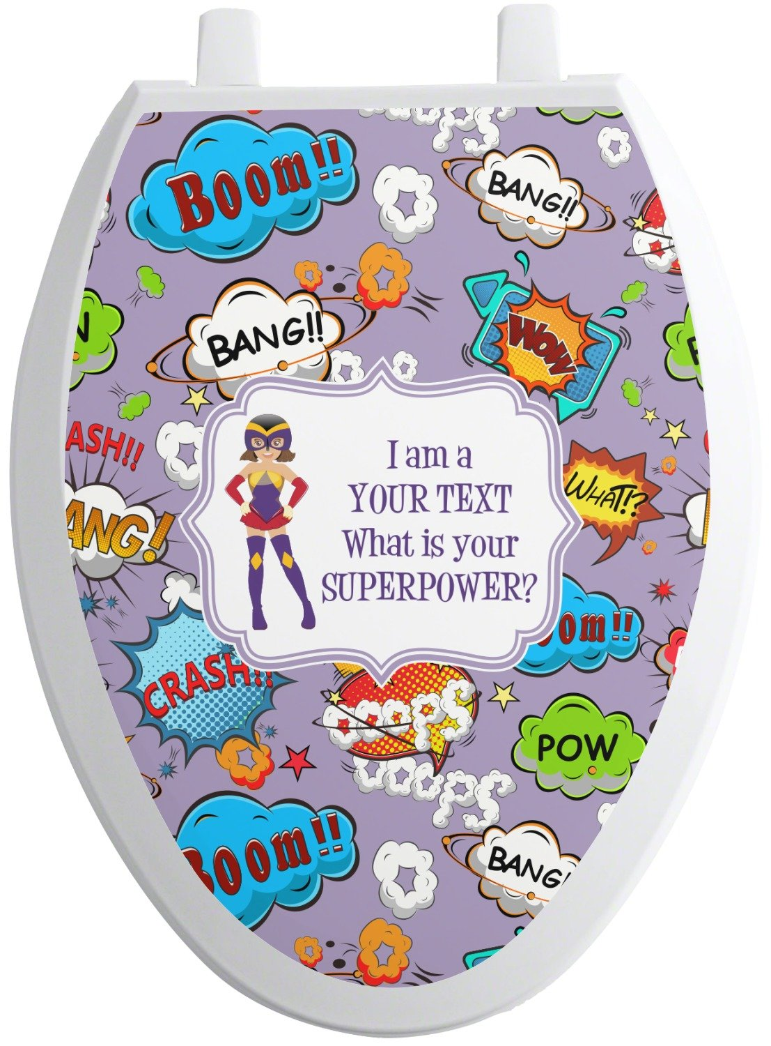 RNK Shops What is your Superpower Toilet Seat Decal - Elongated (Personalized)