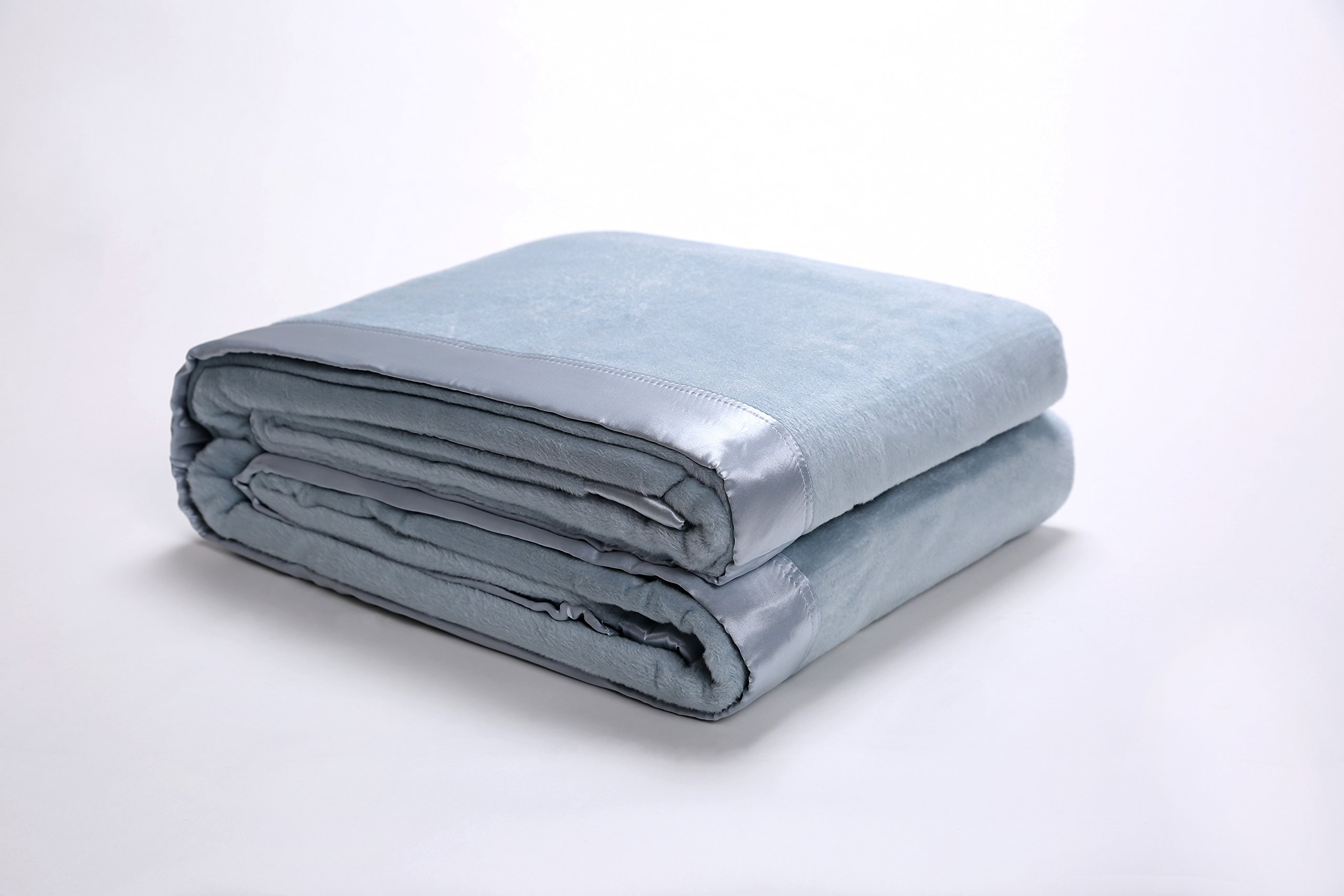 Style Homes Premium Quality Silk Bed Blanket With Silk Sateen Fabric Border, Lightweight and Warm, Full/Queen, Light Blue