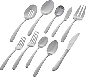 Amazon Brand – Stone & Beam Traditional Stainless Steel Flatware Silverware Set, Service for 12, 65-Piece, Silver with Satin Matte