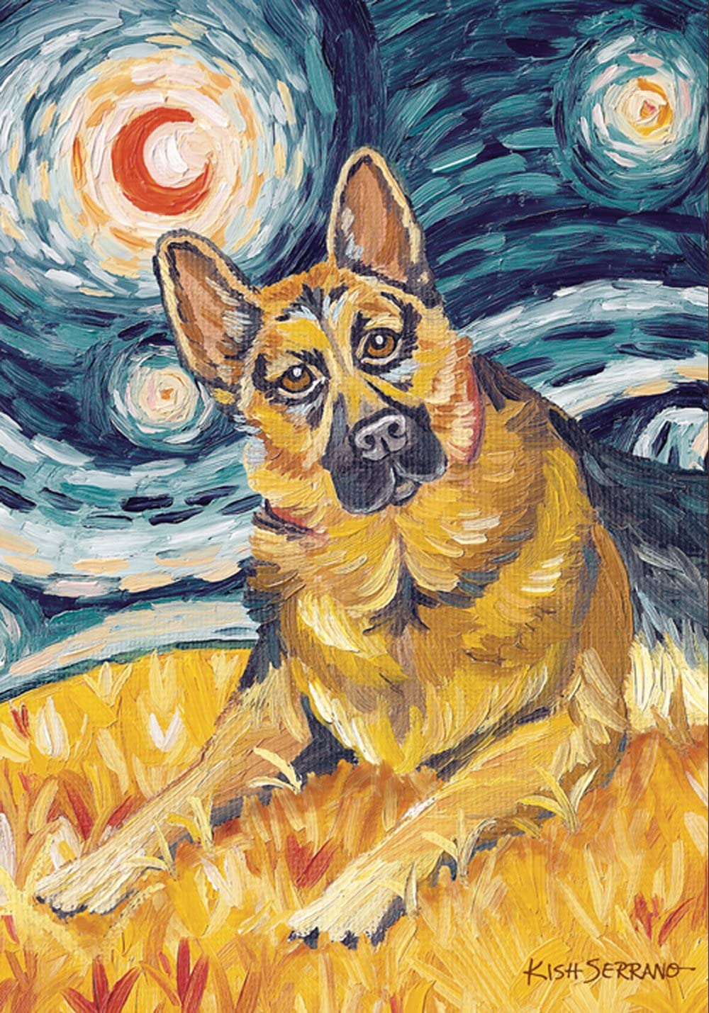 Toland Home Garden Van Growl German Shepard 12.5 x 18 Inch Decorative Puppy Dog Portrait Starry Night Garden Flag