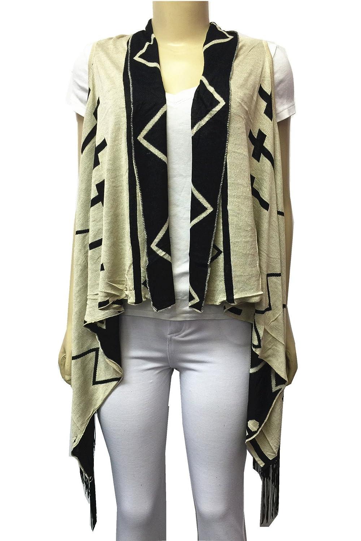 Women Sleeveless Knitted Cross Vest With Fringe Cardigan Sweater