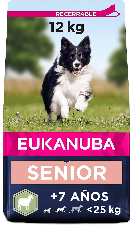 Eukanuba Alimento seco para perros senior de razas pequeñas y medianas, rico en cordero y arroz (12 kg)