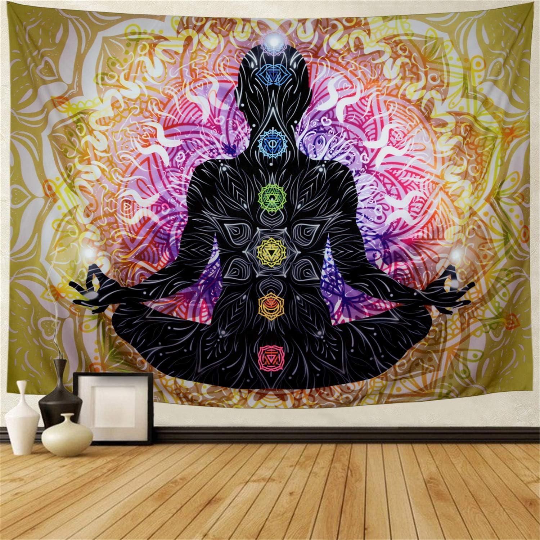 Lahasbja Seven Chakra Tapestry Yoga Meditation Tapestry Wall Hanging Colorful Mandala Wall Tapestry Indian Chakra Tapestries Decoration for Studio Room