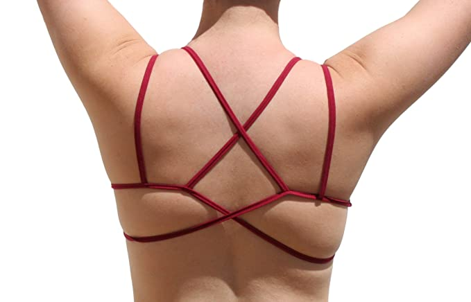 c295aa86f0339 Umita Women s Junior Sexy Variety Double Strap Criss-Cross Back Bralette  (Burgundy) at Amazon Women s Clothing store