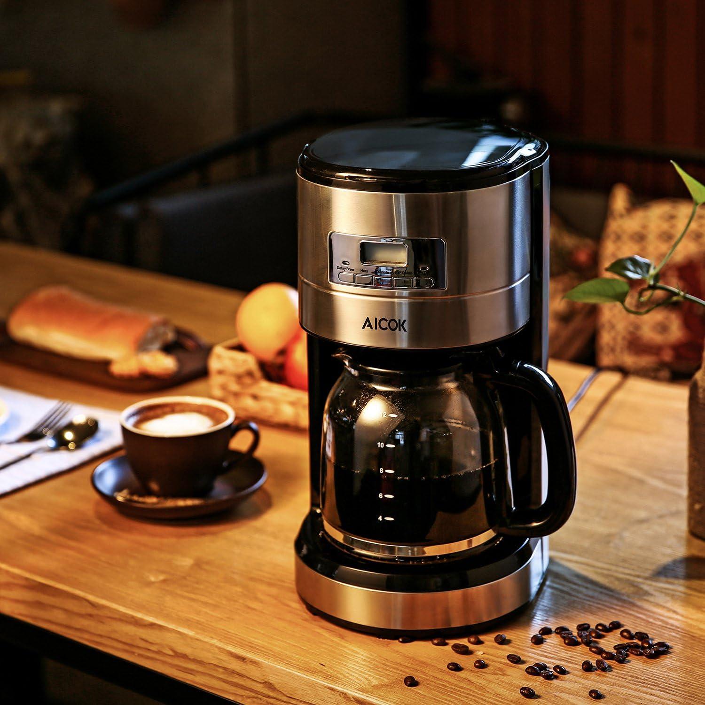 Aicok,Cafetera,cafetera electrica,Cafetera de Goteo Programable, Cafetera Digital Térmica,Capacidad de 12 Tazas,Color Negro: Amazon.es: Hogar