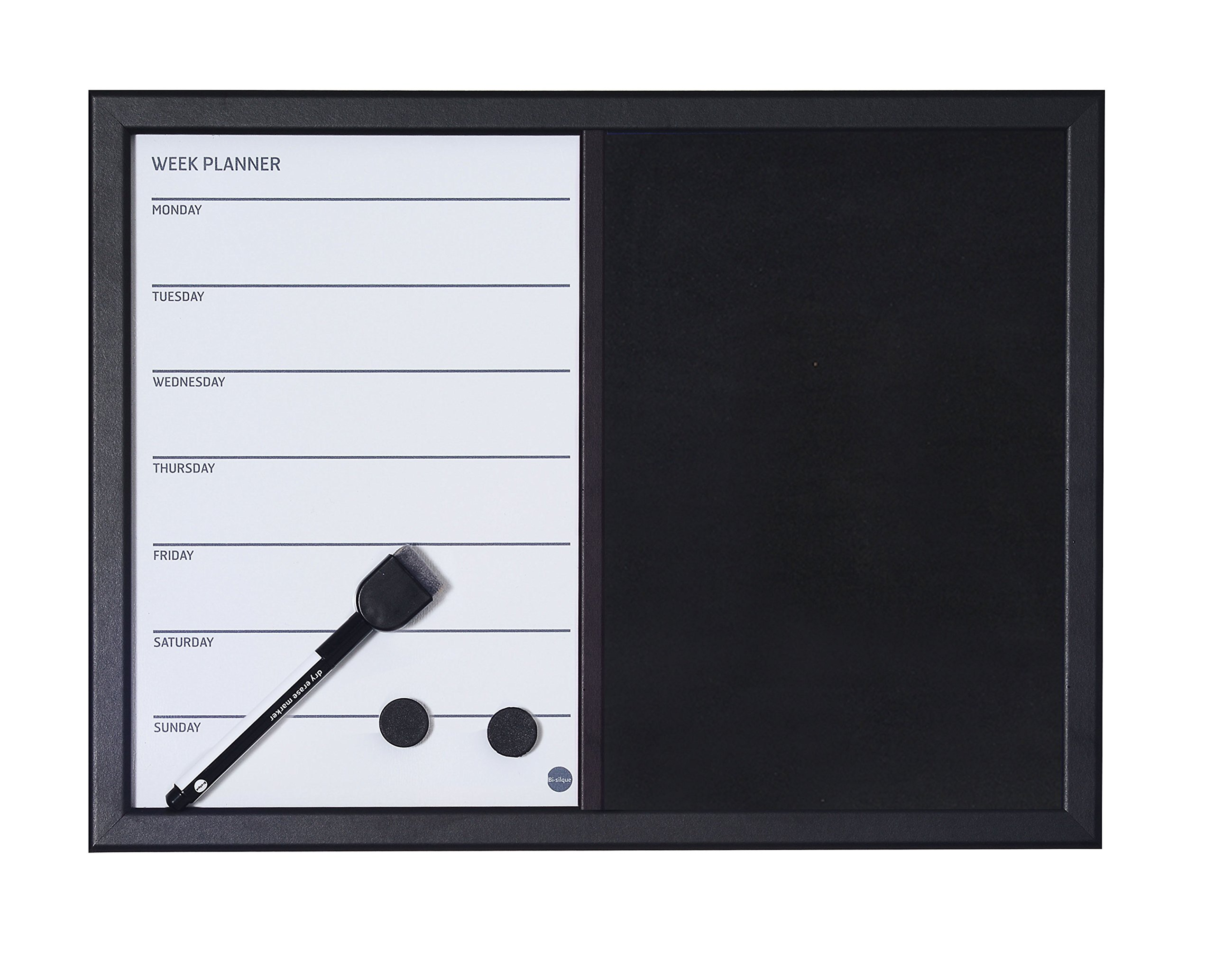 MasterVision Combo Magnetic Week Planner Dry Erase and Black Felt Board, Black Frame, 18 x 24 Inches (MX04445161)