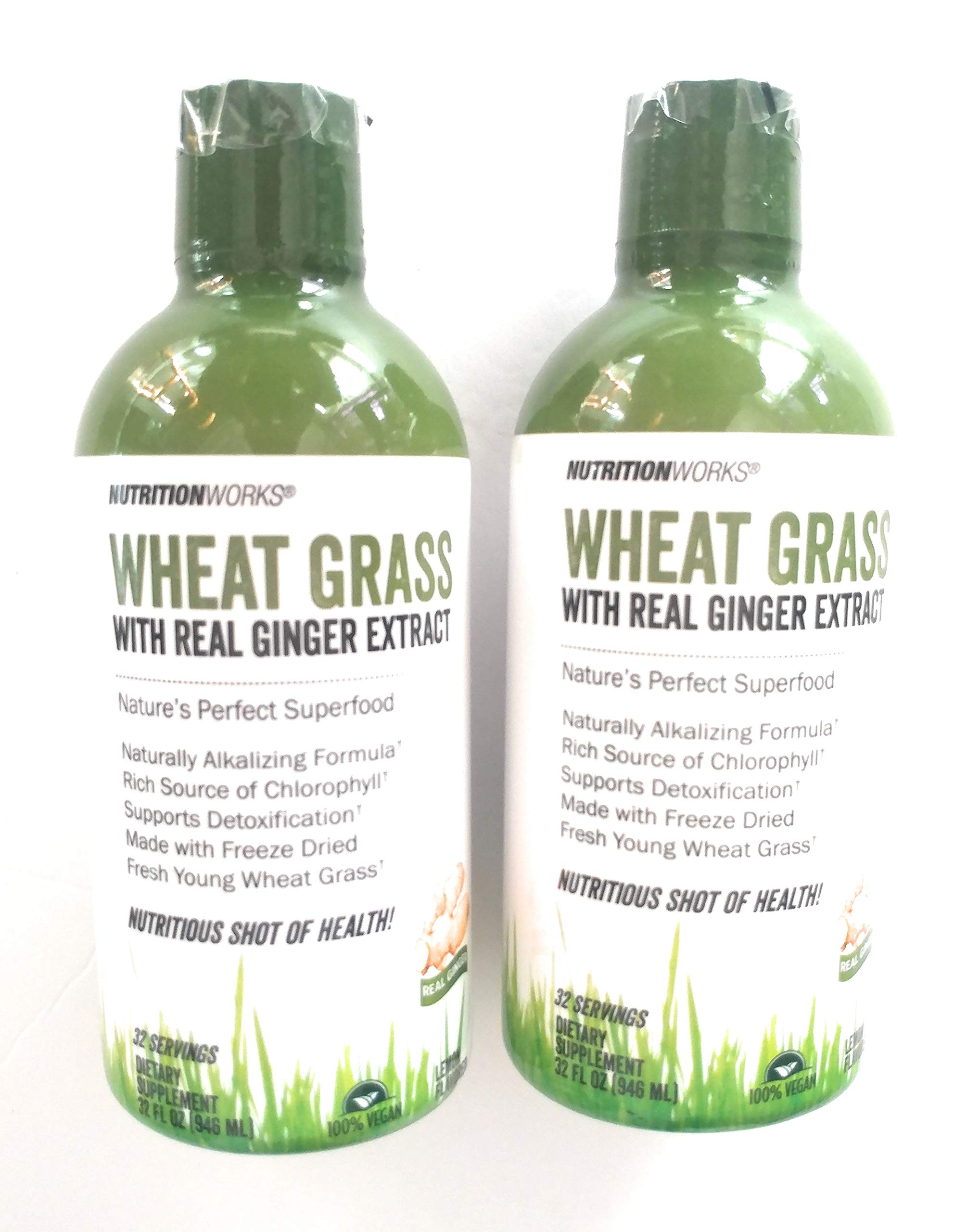 2 Bottles Wheat Grass 32 oz Each. Super Alkalizing Rich in Chlorophyll Detox with Real Ginger. Enzyme Active.