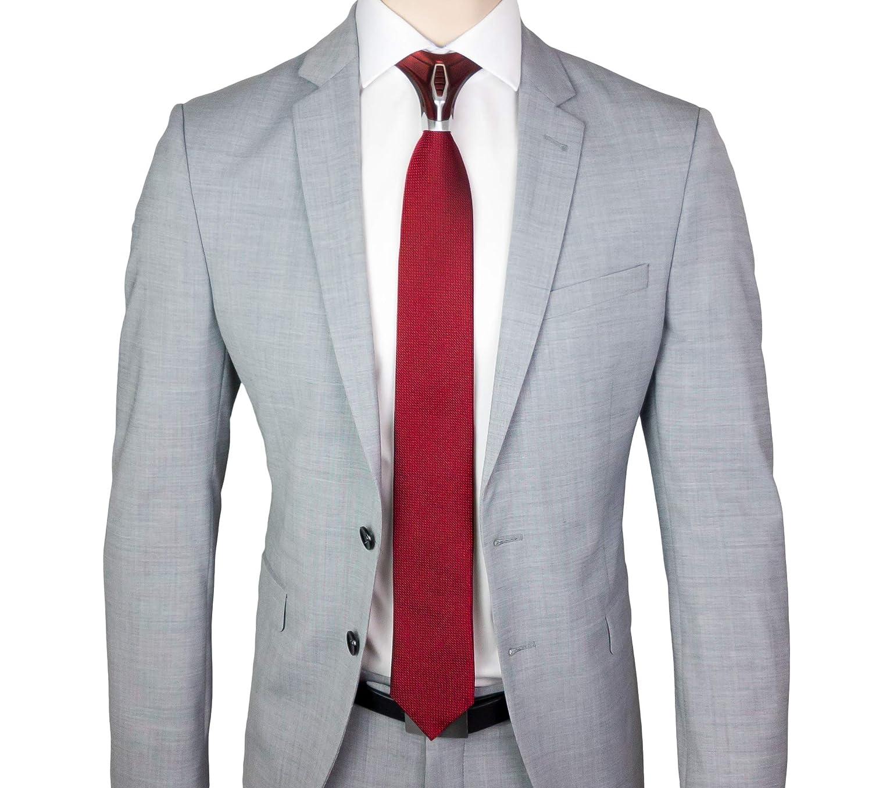BARBATTIE Corbata de diseño, color rojo y plateado, patrón único ...