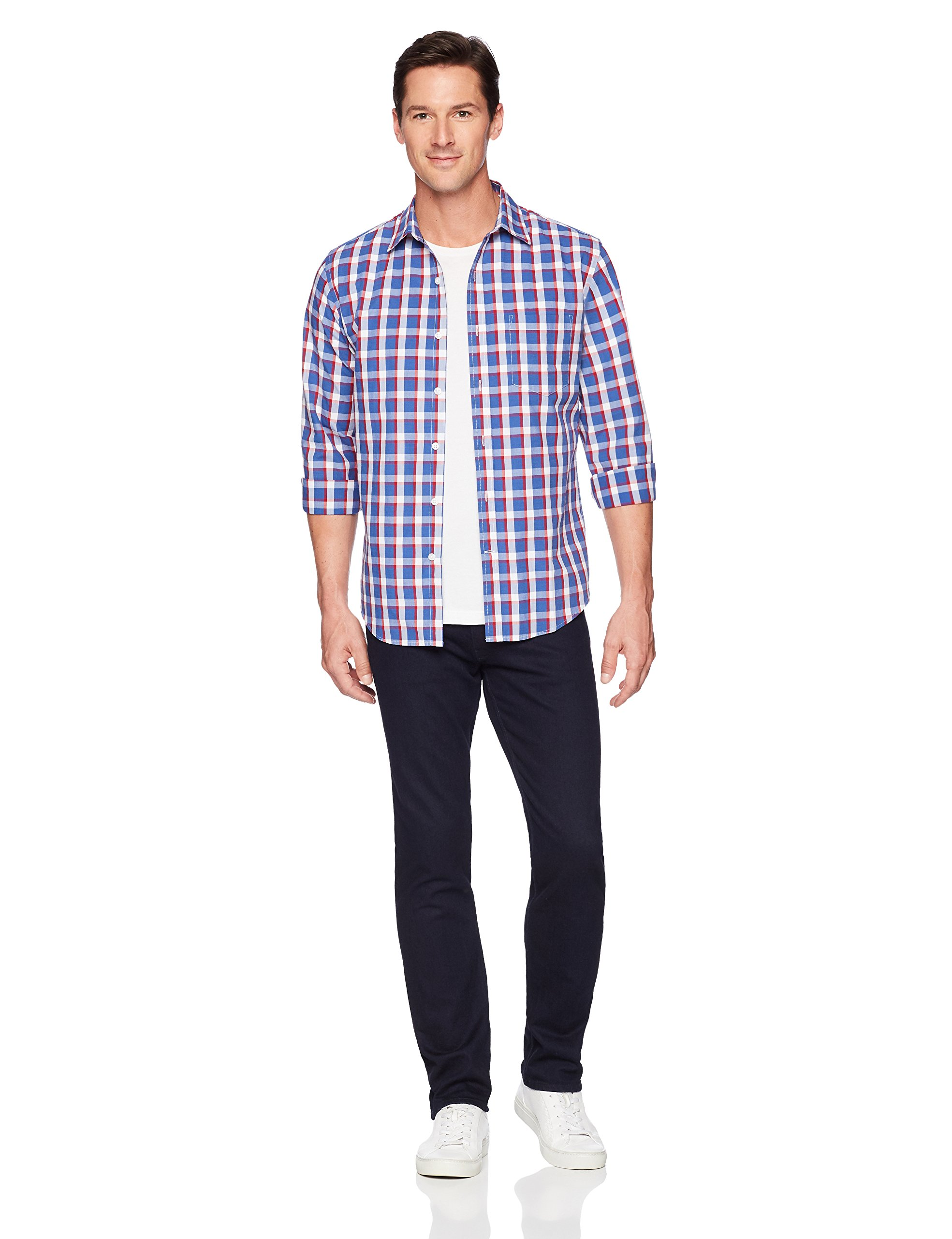 Amazon Essentials Men's Regular-Fit Long-Sleeve Plaid Shirt, blue/red plaid, Large by Amazon Essentials (Image #2)