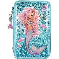 Depesche 10979 etui met 3 ritssluitingen en pennen van Lyra, FANTASYModel Mermaid, blauw, ca. 7,5 x 13 x 20 cm