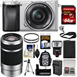 Sony Alpha A6300 4K Wi-Fi Digital Camera & 16-50mm (Silver) with 55-210mm Lens + 64GB Card + Case + Flash + Battery + Charger + Grip + Tripod + Kit
