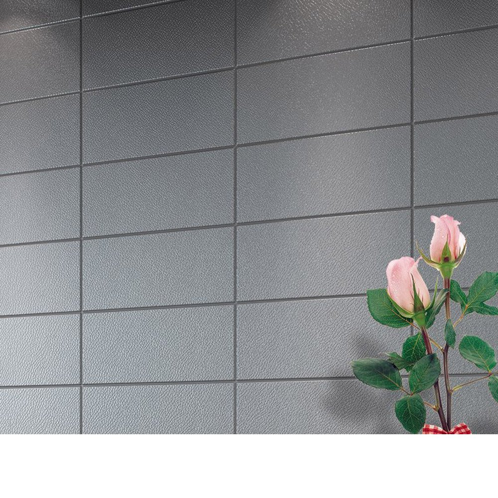 YETUGE 壁紙 木目リメイクシート 70cm×30cm 発泡スチロール 軽量レンガシール 壁紙シール アクセントクロス ウォールシール はがせる 壁シール B07BTT66G9 十枚|グレー グレー 十枚