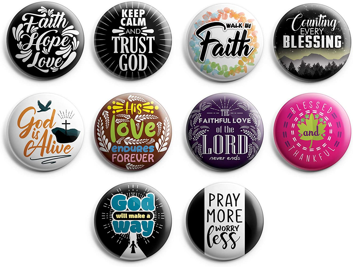 """Christian Pinback Buttons - Faith Hope Love (10-Pack) - Large 2.25"""" VBS Sunday School Easter Baptism Thanksgiving Christmas Rewards Encouragement Gift"""