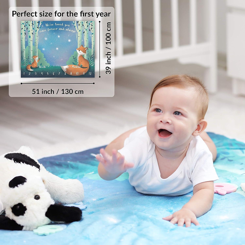 Baby Monats-Decke Weich /& Dick Baby Meilenstein Decke Unisex Wald /& Sterne Motiv Fuchs Foto Monatsdecke Baby Neugeborene Junge oder M/ädchen Personalisiertes Baby Party-Geschenk