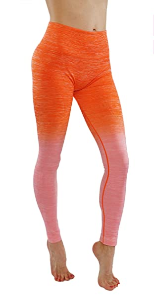 24995d5eab KVKSEA Women's Flexible Yoga Pants Ombre Leggings Activewaer L704 (S, Og.  Pink-