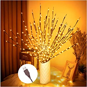 Branch Lights, 3Pack Twig Branch Light with USB Powered for Halloween Thanksgiving Christmas and Other Theme Party Vases Decorative