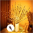 """3PK 30"""" Brown Wrapped Lighted Twig Stake with 60 Warm White LED Bulbs Artificial Willow Lighted Branches for Easter Outdoor Indoor Christmas Halloween Home Decoration Apartment Decorative Lights"""
