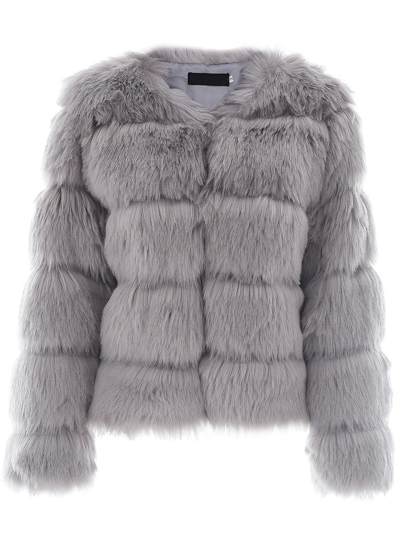 Simplee Apparel Damen Mantel Winter Elegant Warm Faux Fur Kunstfell Jacke Kurz Mantel Coat