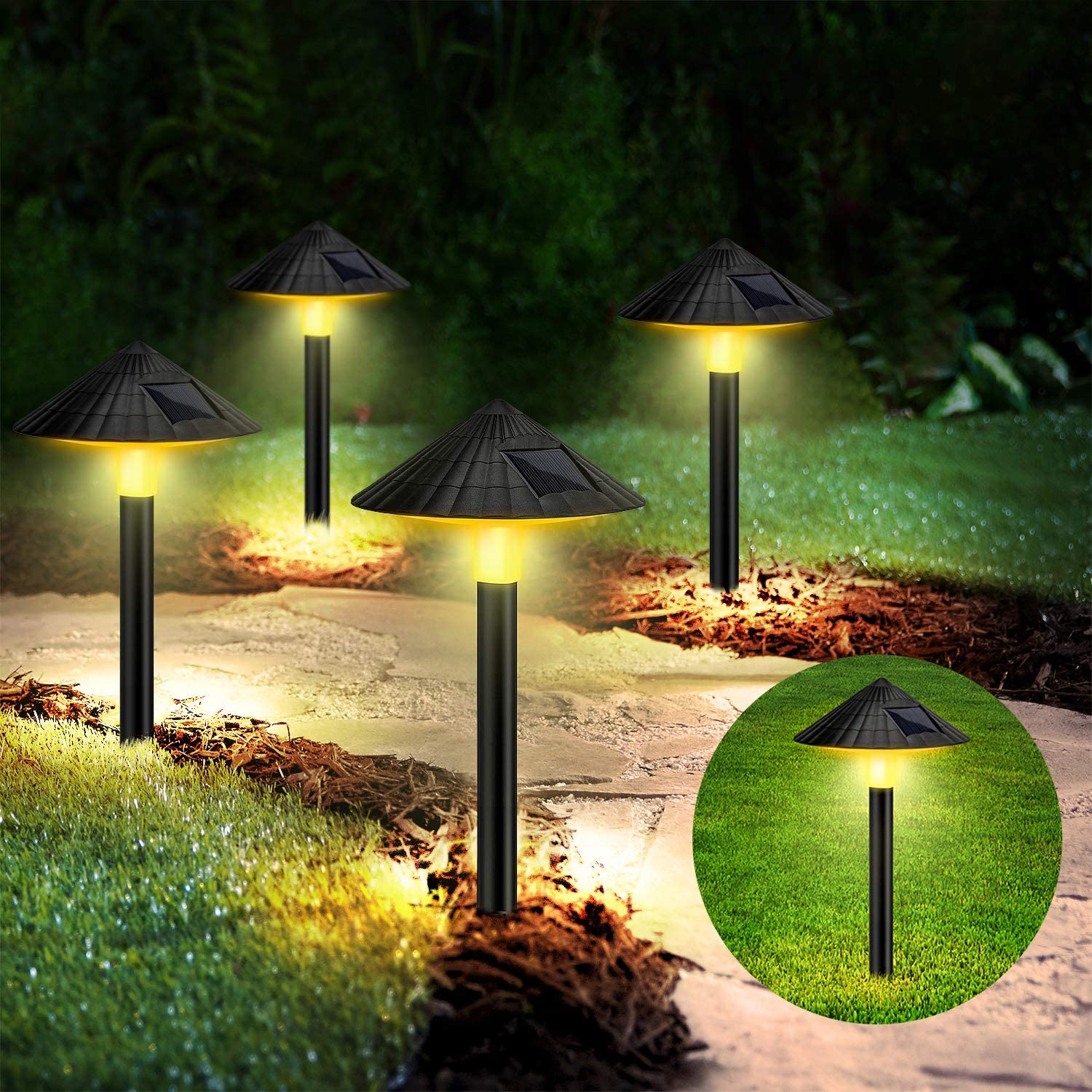 Pathway Lights Solar Powered,4 Pack Solar Waterproof Wireless Outdoor Walkway Lights Auto On/Off Led Lighting Decorations for Yard ,Sidewalks ,Gardens, In-Ground and lawns (Warm White)