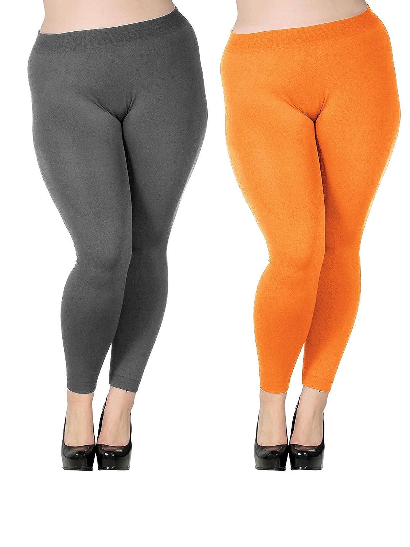 Zando PANTS レディース B01LWA7FVN US 3X Plus|B 2 Pairs Orange W Dark Grey