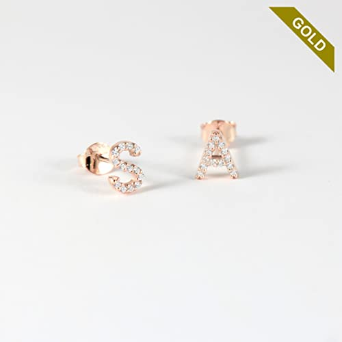 pre letter earrings image stud initial products gold of roze phoenix