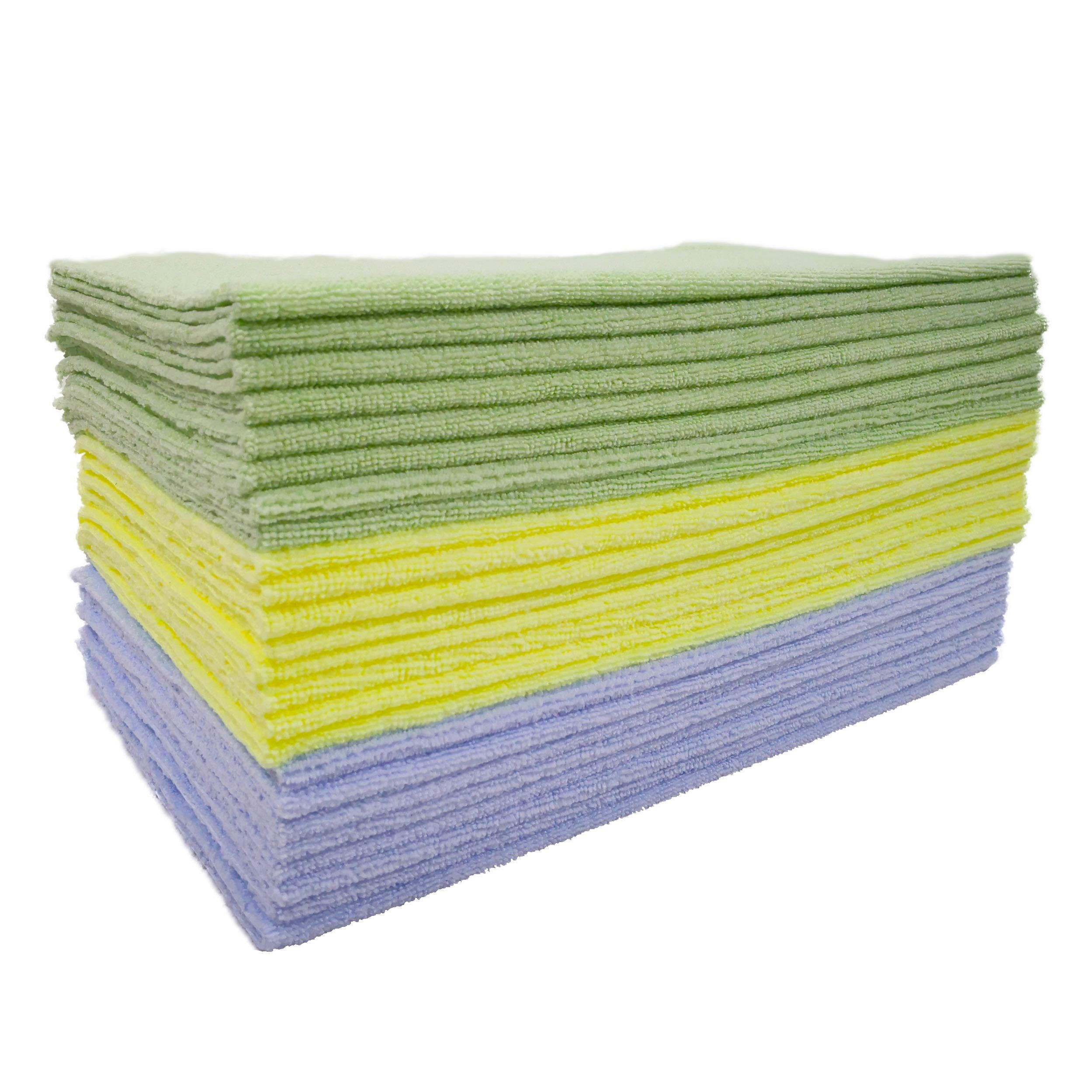 Polyte Microfiber Cleaning Towel Ultrasonic Cut Edgeless (16x16, 24 Pack, Premium, Light Blue,Green,Yellow)