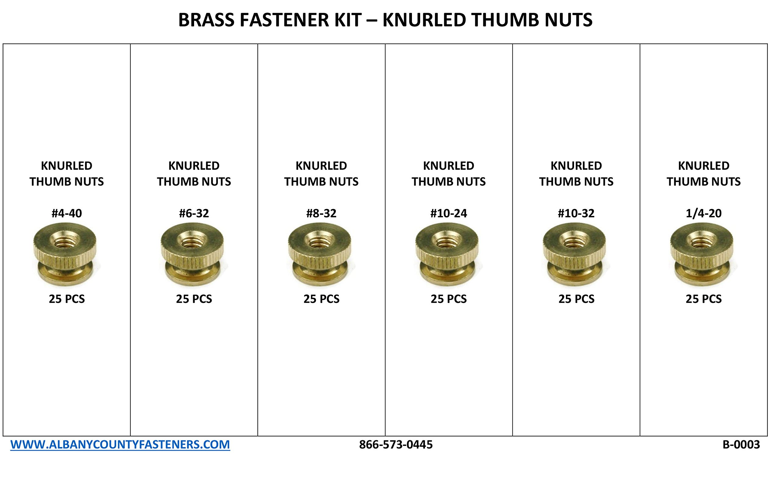 Brass Solid Knurled Thumb Nut Fastener Assortment Kit - 151pcs Inch Sizes by RAW PRODUCTS CORP