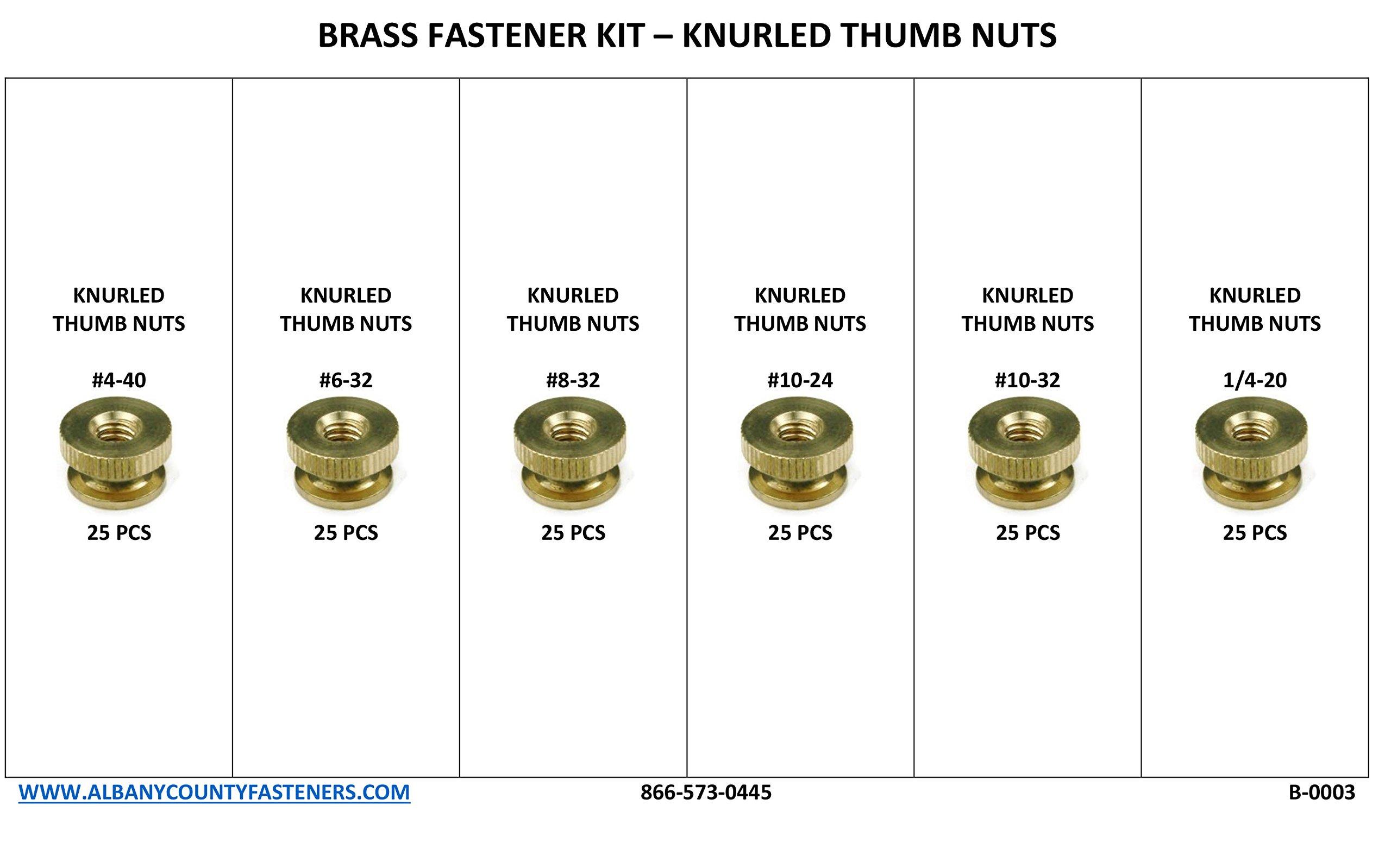 Brass Solid Knurled Thumb Nut Fastener Assortment Kit - 151pcs Inch Sizes