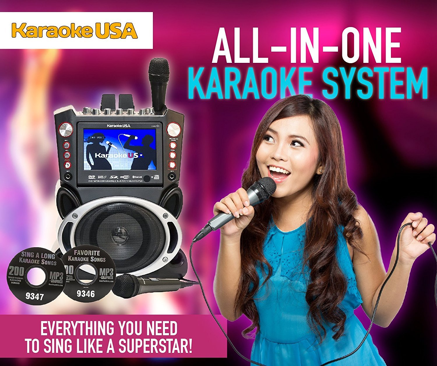 """Karaoke USA GF845 Complete Karaoke System with 2 Microphones, Remote  Control, 7"""" Color Display, LED Lights - Works with DVD, Bluetooth, CD, MP3  and"""