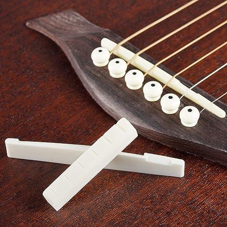 2stk Kunststoff  Brücke Sattel und Nut für Akustik-Gitarre E-Gitarre