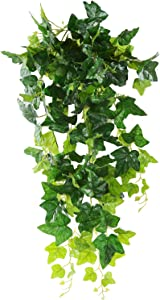 Luyue Artificial Hanging Plants Green Plastic Ivy Leaves Fake Ivy Vine Pack of 1 (Ivy Leaves)